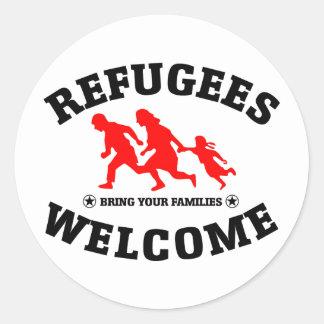 Flüchtlings-Willkommen holen Ihre Familien Runder Aufkleber