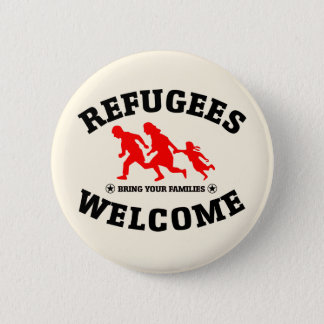 Flüchtlings-Willkommen holen Ihre Familien Runder Button 5,7 Cm