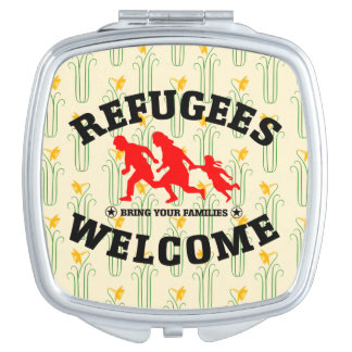 Flüchtlings-Willkommen holen Ihre Familien Taschenspiegel