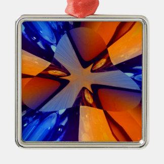 Flug der Taube Quadratisches Silberfarbenes Ornament