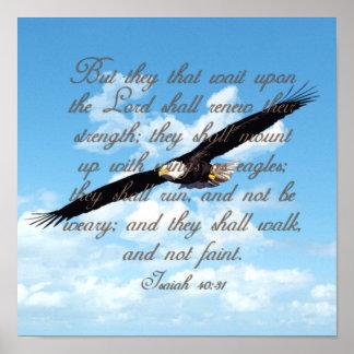 Flügel als Eagles, Jesaja-40:31 christliche Bibel Poster