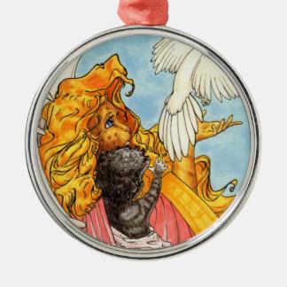 Flügel der Liebe Rundes Silberfarbenes Ornament