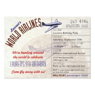 Fluglinien-Karten-Bestimmungsort-Party Einladung