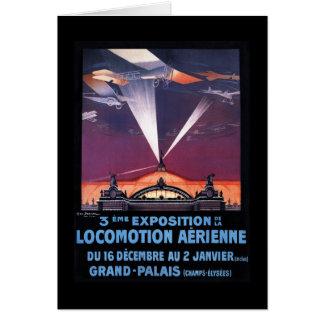 Flugzeug, das über Scheinwerfer-Plakat fliegt Karte