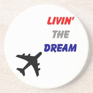 Flugzeug-die Küste entlangfahrende Träume Sandstein Untersetzer