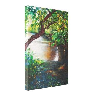 Fluss-Acrylmalerei-| eingewickelte Leinwand
