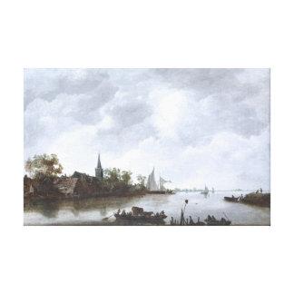 Fluss-Ansicht mit einer Dorf-Kirche Leinwanddruck