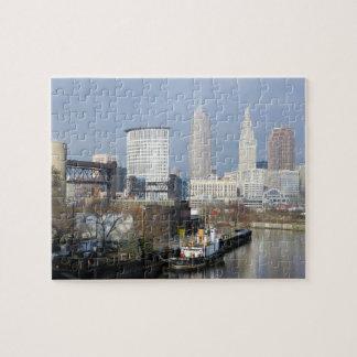 Fluss-Ansicht-(mit Schlepper) Puzzlespiel