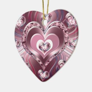 Fluss-flüssige Herzen Keramik Ornament
