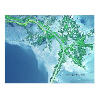Fluss Mississipi-Deltasatelliten-Postkarte Postkarte