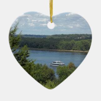Fluss Mississipiboot Keramik Herz-Ornament