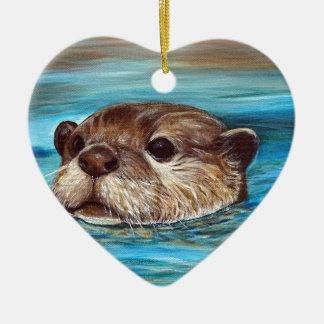 Fluss-Otter Keramik Herz-Ornament