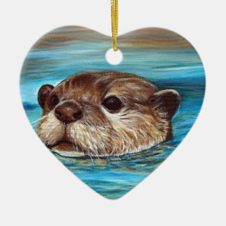Fluss-Otter Keramik Ornament