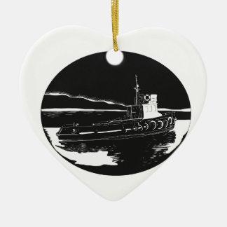Fluss-Schlepper-Oval-Holzschnitt Keramik Herz-Ornament