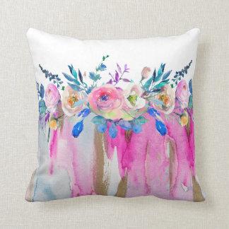 Flüssige Farben u. bunter Aquarell-Blumenstrauß Kissen