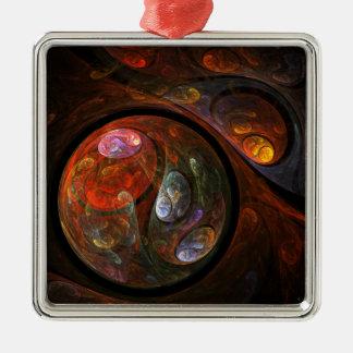 Flüssige Verbindungs-abstraktes Kunst-Quadrat Quadratisches Silberfarbenes Ornament
