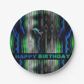 Flüssiges Erschütterungs-Delphin-Neon Pappteller
