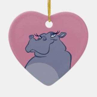 Flusspferd für Weihnachten Keramik Herz-Ornament