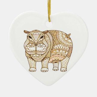 Flusspferd Keramik Herz-Ornament
