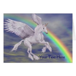Flying Unicorn Rainbow Fantasy Art Photo Card Grußkarte