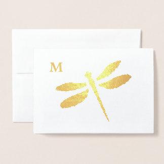 Foil Dragonfly Silhouette Monogram Note Card Folienkarte