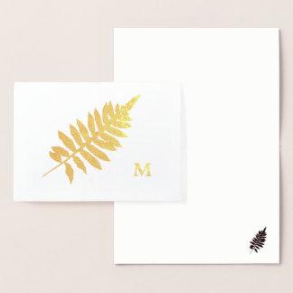 Foil Garden Fern Silhouette Monogram Note Card Folienkarte