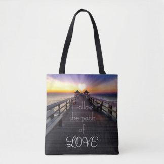 Folgen Sie dem Weg des Liebe-Strand-Piers Tasche