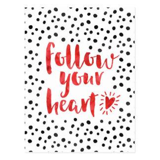 Folgen Sie Ihrem Herz-Zitat Postkarte