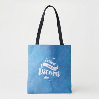 Folgen Sie Ihrem Traum-Blau-Aquarell Tasche