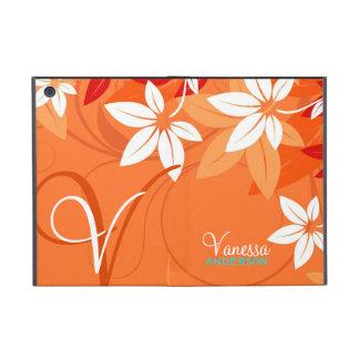 Folio floral de monogramme de mandarine étui iPad mini