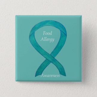 Food Allergy Awareness Green Ribbon Custom Art Pin Quadratischer Button 5,1 Cm