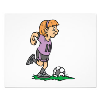 footballeur de fille prêt à donner un coup de pied prospectus 11,4 cm x 14,2 cm
