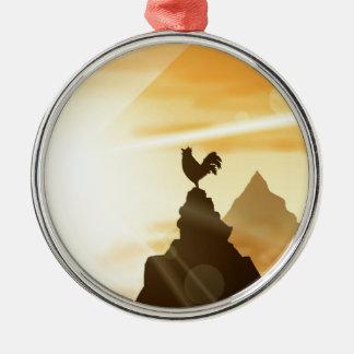 Fordern Sie den Sun heraus Rundes Silberfarbenes Ornament