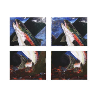 Forelle-Bettwäsche-Leinwand-Platten Galerie Faltleinwand