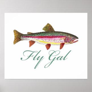 Forelle-Fliegen-Fischen Poster
