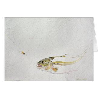 Forelle, welche die Fliege eines Fischers jagt Grußkarte