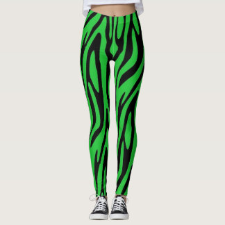 Forest Greenzebra-Druck Leggings