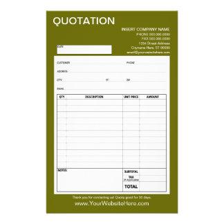 Form - Geschäfts-Zitat oder Rechnung 14 X 21,6 Cm Flyer