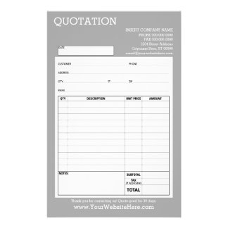 Form - Geschäfts-Zitat oder Rechnung - hellgrau 14 X 21,6 Cm Flyer