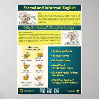 Formale und informelle Art auf englisch Poster