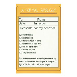 Formaler Entschuldigungs-Checklisten-Entwurf 3 Briefpapier