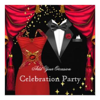 Formaler Partyeleganter Tuxedo-rotes Quadratische 13,3 Cm Einladungskarte