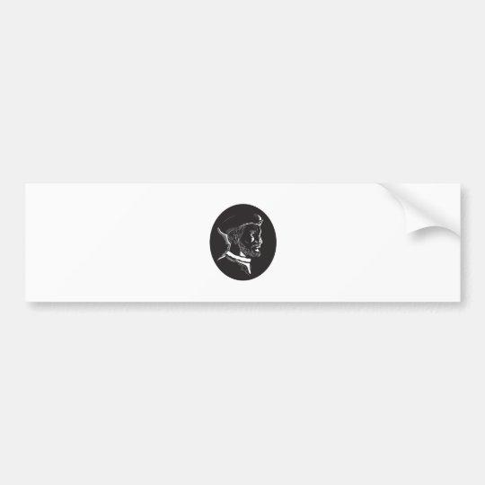Forscher-Oval-Holzschnitt Jacques Cartier Autoaufkleber