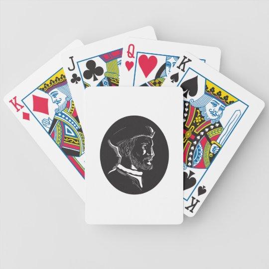 Forscher-Oval-Holzschnitt Jacques Cartier Bicycle Spielkarten