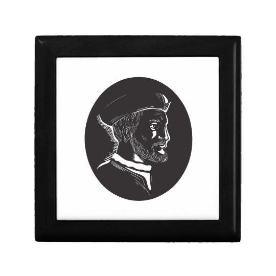 Forscher-Oval-Holzschnitt Jacques Cartier Erinnerungskiste