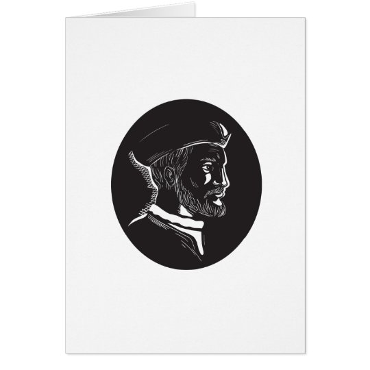 Forscher-Oval-Holzschnitt Jacques Cartier Grußkarte