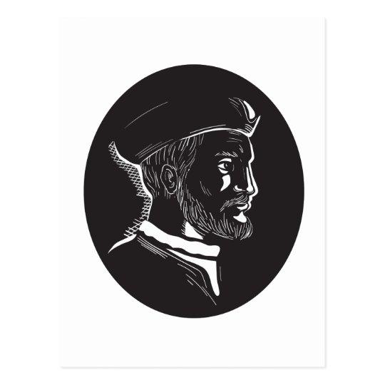 Forscher-Oval-Holzschnitt Jacques Cartier Postkarte