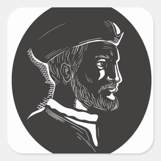 Forscher-Oval-Holzschnitt Jacques Cartier Quadratischer Aufkleber