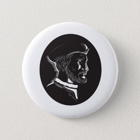 Forscher-Oval-Holzschnitt Jacques Cartier Runder Button 5,1 Cm