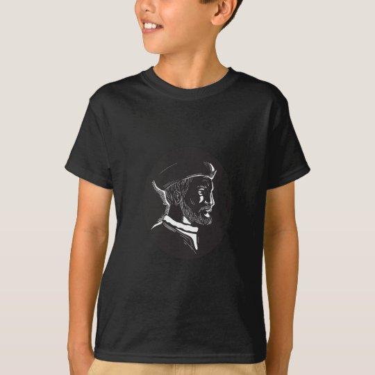 Forscher-Oval-Holzschnitt Jacques Cartier T-Shirt